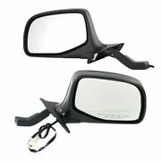 Power Side View Mirrors Chrome And Black Left And Right Pair Set For F-series Truck