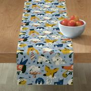 Table Runner Fancy Dogs Bulldog In Hats Doggy Pet Puppy Funny Cotton Sateen