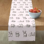 Table Runner Friendly French Bulldogs Bulldog Pug Puppies Frenchie Cotton Sateen
