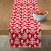 Table Runner Large Scale Texture Red And White Christmas Holiday Cotton Sateen