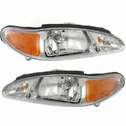 Halogen Headlight Set For 1997-2002 Ford Escort Left And Right W/ Bulbs Pair