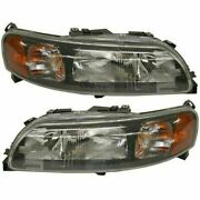 Halogen Headlight Set For 2001-2004 Volvo V70 Left And Right W/ Bulbs Pair