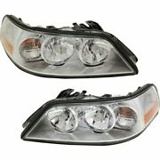 Halogen Headlight Set For 2005-2010 Lincoln Town Car Left And Right W/bulbs Pair