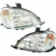 Halogen Headlight Set For 98-2001 Mercedes Benz Ml320 Left And Right W/bulbs Pair