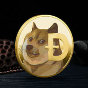 Dogecoin Coins Commemorative 2021 New Collectors Gold Plated Doge Coin Usa Stock