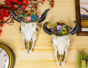 Set Of 2 Southwestern Bull Cow Steer Skulls With Colorful Succulent Wall Decors