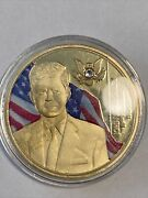 American Mint Jfk Crystal Inlay Gold Layered Commemorative Coin