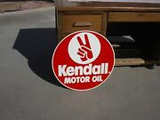1991 Kendall Motor Oil Sign 23 Double Sided Painted Steel Gas Station Dated