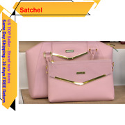 Joy And Iman Couture Leather Satchel And Clutch With Velvet Detail Blush