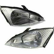Headlights Headlamps Left And Right Pair Set New For 00-02 Ford Focus