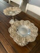 Mint Rare Huge 1907-24 S. Kirk And Son Repousse Sterling Silver Compote Candy Dish