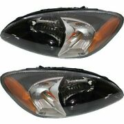 Headlight Set For 2000-2007 Ford Taurus Left And Right Black Housing 2pc