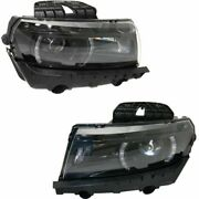 Headlight Set For 2014-2015 Chevrolet Camaro Left And Right Hid With Bulb 2pc