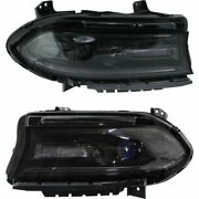 Headlight Set For 2015-2016 Dodge Charger Left And Right Smoked Lens 2pc