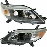 Headlight Set For 2011-2014 Toyota Sienna Left And Right Black Housing Capa 2pc