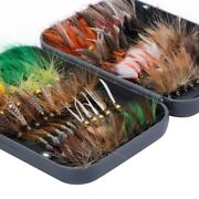 76pcs/lot Fly Fishing Lures Flies Dry Wet Nymph Artificial Bait Hook Trout Bass