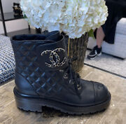 Nib 2021 Black Quilted Leather Lace Up Combat Boots 35-42 Eur Sizes