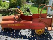 Vintage Murray Sad Face Fire Department Truck Pedal Car Advertising, C1940's