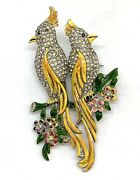 Vintage Coro Enameled Birds On Branch Duette Clips Signed