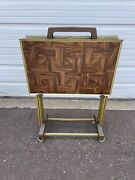 Vintage Set Of 4 Mid Century Tv Trays With Stand Faux Wood Look Mcm Retro
