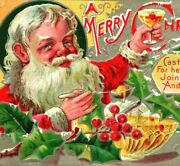 A Merry Christmas Red Santa Claus Punch Bowl Embossed 1910s Vtg Postcard