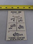Vintage 1950's Cardback Only Jeep Puzzle Car Keychain Key Ring Chain D2