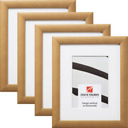 Craig Frames Contemporary 1, Distressed Gold Picture Frame With A Mat, 4-pack