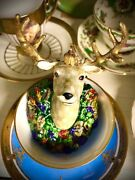 Mackenzie-childs Heirloom Deer/stag Ornament Hand Painted Collectible Glass
