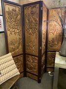 Chinese Gilded Privacy Screen.. Rosewood Frame. Hand Carved.