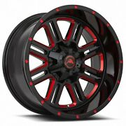 4 New American Off-road Wheels A106 20x10 6x120 -24 Black Milled Red