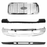 Front Bumper Chrome Steel + Textd Covers + Grille For 2005-2007 Ford F-250 F-350