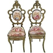 Pair Antique Viennese Enamel Miniature Chairs W Pastoral Scenes And Figural Tops