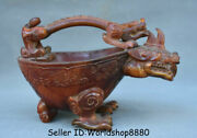 7.8 Old Chinese Qing Dynasty Ox Horn Carved Beast Zun Portable Drinking Vessel