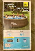 Summer Waves 14andrsquo X 36andrdquo Quick Set Pool Wicker Print W/ Pump And Filter Ships Today