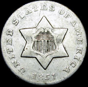 1851-o Silver Three Cent Piece 3cp ----- Type Coin ----- N942