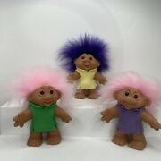 1986 Thomas Dam Troll Open Mouth Pink Purple Hair Felt Outfits 3 Dolls 4.5andrdquo Lot