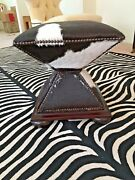 Baker Furniture 409 Hourglass Pony Hair Ottoman With Bronze Nail Head