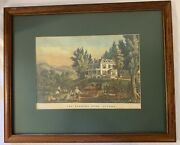 Original Currier And Ives Lithograph Art Print The Farmers Home - Autumnandrdquo 1864