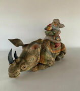 Santa Rhinoceros Wooden Sculpture Unique Carving Handmade Limited Collection