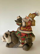 Santa On Panda Wooden Figurine Unique Carving Handmade Limited Collection