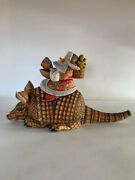 Santa On Armadillo Wooden Figurine Unique Carving Handmade Limited Collection