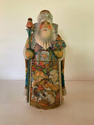 14 Wooden Russian Carved Santa Father Frost, Ded Moroz Hand Carved Painted