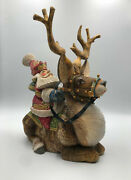 14 Santa On Deer Wooden Sculpture Unique Carving Handmade Limited Collection