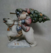 17 Wooden Russian Carved Santa Father Frost Ded Moroz Hand Carved Painted