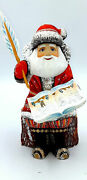 10.2 Height Wooden Russian Carved Santa With Feather Ded Moroz Hand Carved