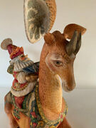Santa On Okapi Wooden Sculpture Unique Carving Handmade Limited Collection