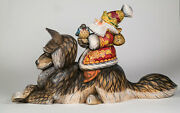 Santa On Wolf Wooden Sculpture Unique Carving Handmade Limited Collection