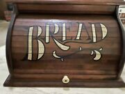 Vintage Large 18 X 11 X 11 1/2 Rustic Country Kitchen Wooden Roll Top Bread Box