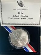 2012 W Infantry Soldier Unc Commemorative 90 Silver Dollar Omp/coa Us Coin