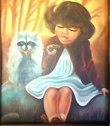 Vtg Painting Unsigned Young Girl And Raccoon Examine Pinecones Oil On Cowhide Ugly